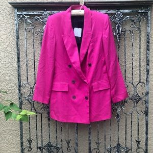new ZARA hot pink long oversized lyocell blazer